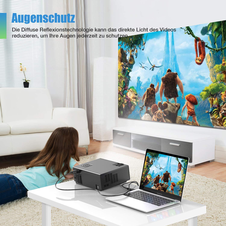 Native 1280x720P unterst/ützt 1080P FunLites Video Projektor Full HD HDMI VGA AV USB kompatibel Portable Mini Beamer Schwarz