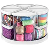 """Deflecto Rotating Carousel Organizer, Nine Canisters, Three 6"""" and Six 3"""" (3901CR)"""