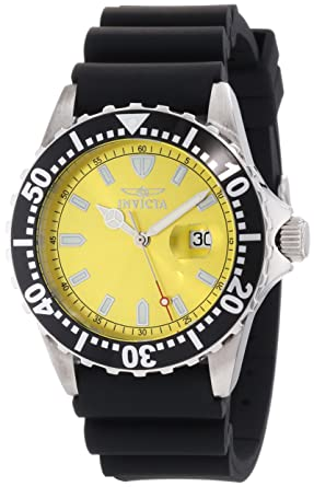 Invicta Mens 10918 Pro Diver Yellow Dial Black Polyurethane Watch