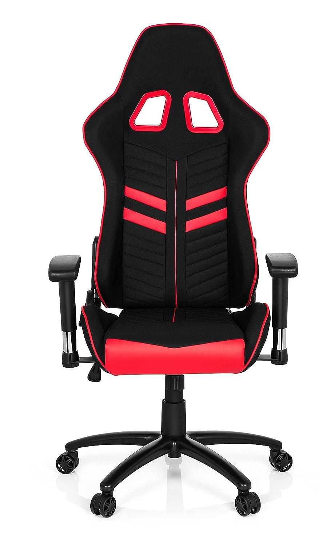hjh OFFICE 729260 silla gaming LEAGUE PRO I tejido piel sintética negro / rojo silla escritorio: Amazon.es: Hogar