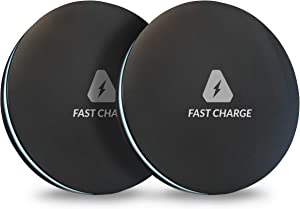 Trusted Wireless Charger [2 Pack] Qi-Certified 7.5W Wireless Charging Compatible with iPhone Xs MAX/XR/XS/X/8/8 Plus,10W Compatible Galaxy Note 9/S9/S9 Plus/Note 8/S8,5W and more (No AC Adapter)