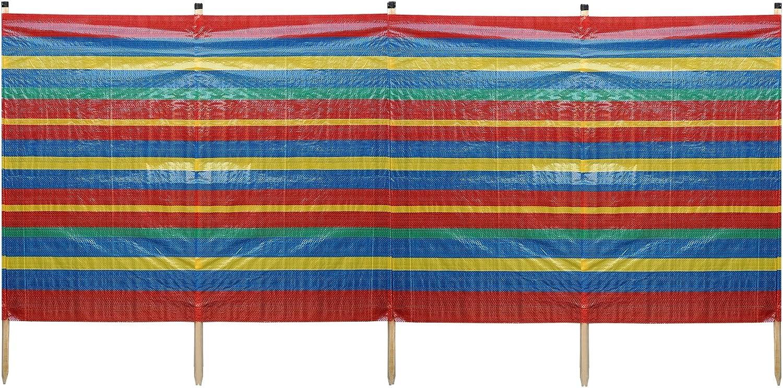 4-10 Wooden Windbreaker Poles Sun Wind Shelter Camping Beach Garden Wind Break
