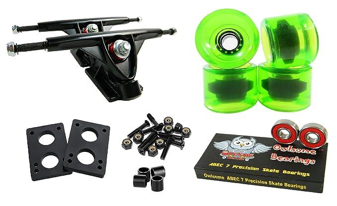 Longboard 180mm Trucks Combo w/70mm Wheels + Owlsome ABEC 7 Bearings