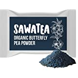 Sawatea - Premium High Concentrate Butterfly Pea Flower Powder - 100% Organic - 60 servings - makes delicious teas, lattes, refreshers and lemonades