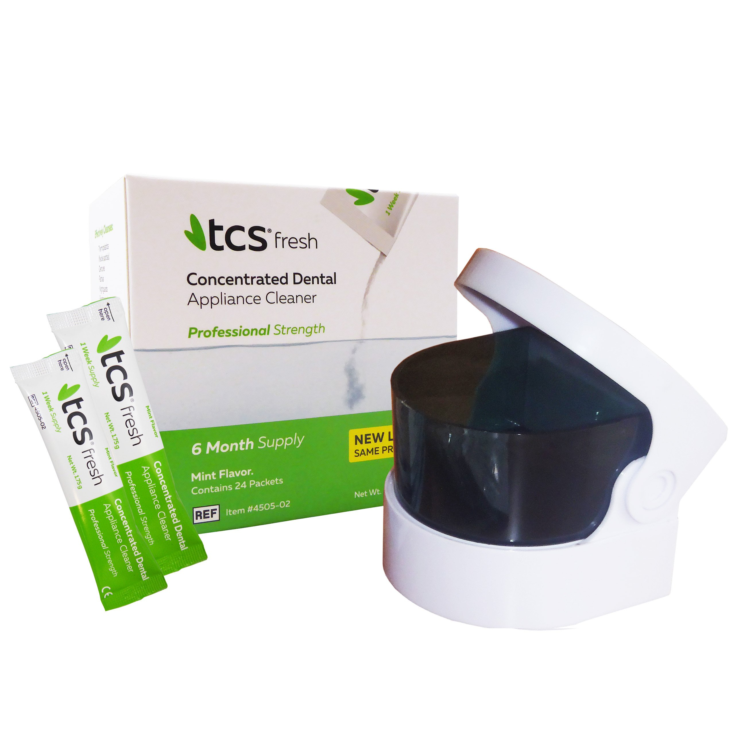 TCS & Sonic Cleaner - 6 Months Concentrated Cleaner for Flexible Dentures, Weekly Sachets (Batteries Not Included)