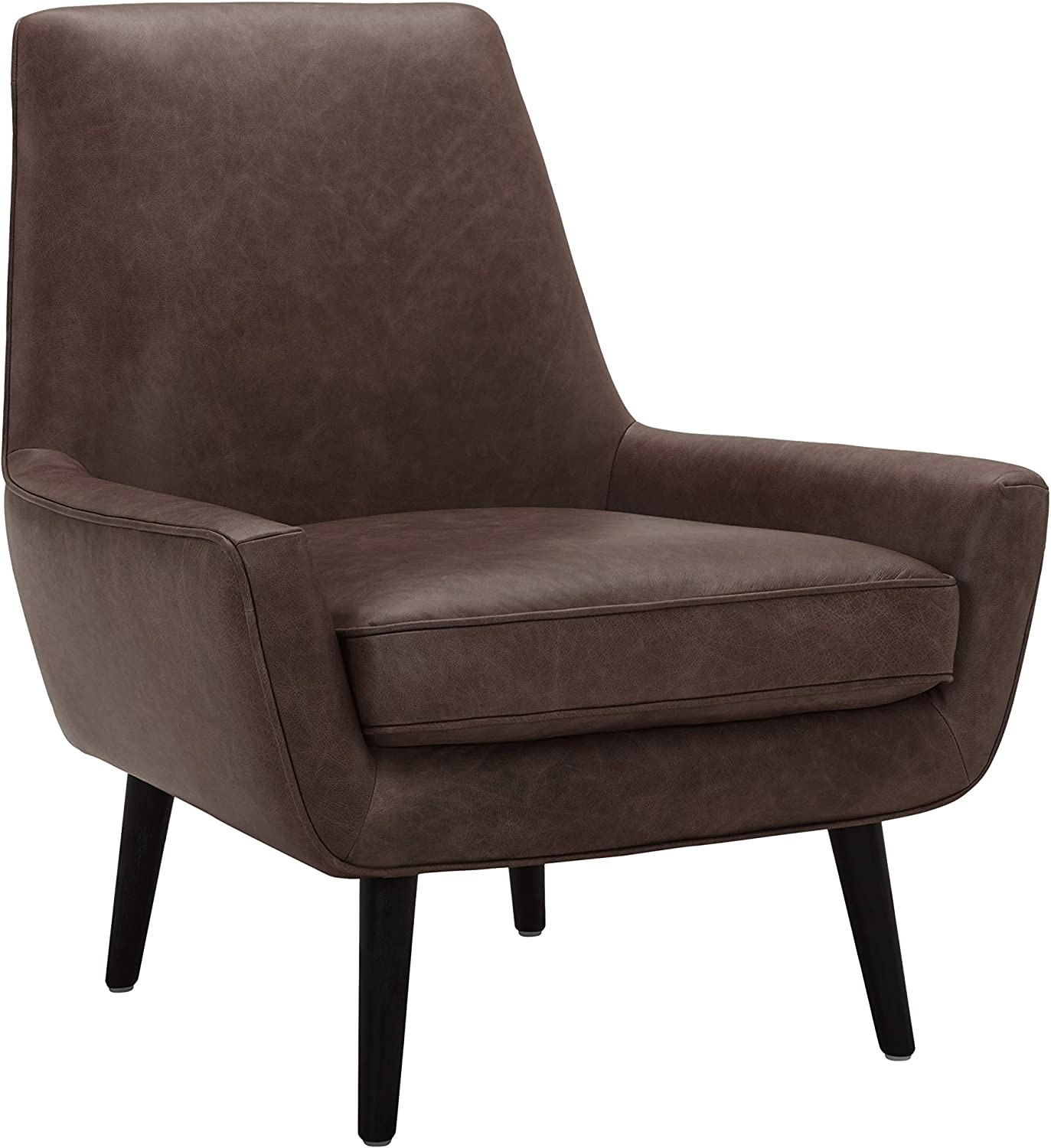 "Amazon Brand – Rivet Jamie Leather Mid-Century Modern Low Arm Accent Chair, 31""W, Brown"