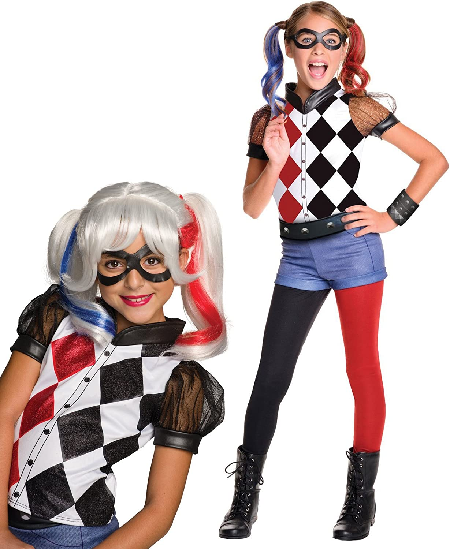 DC Superhero Girls Harley Quinn Deluxe Child Costume Bundle Set M