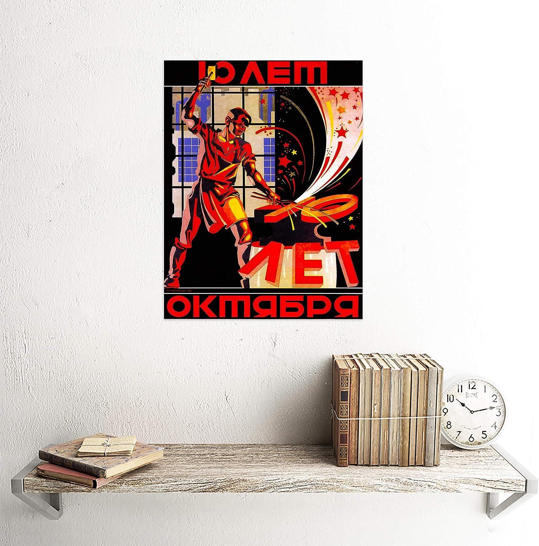 Soviet Russia Propaganda Ussr 1927 Blacksmith 12X16 Inch Framed Art Print