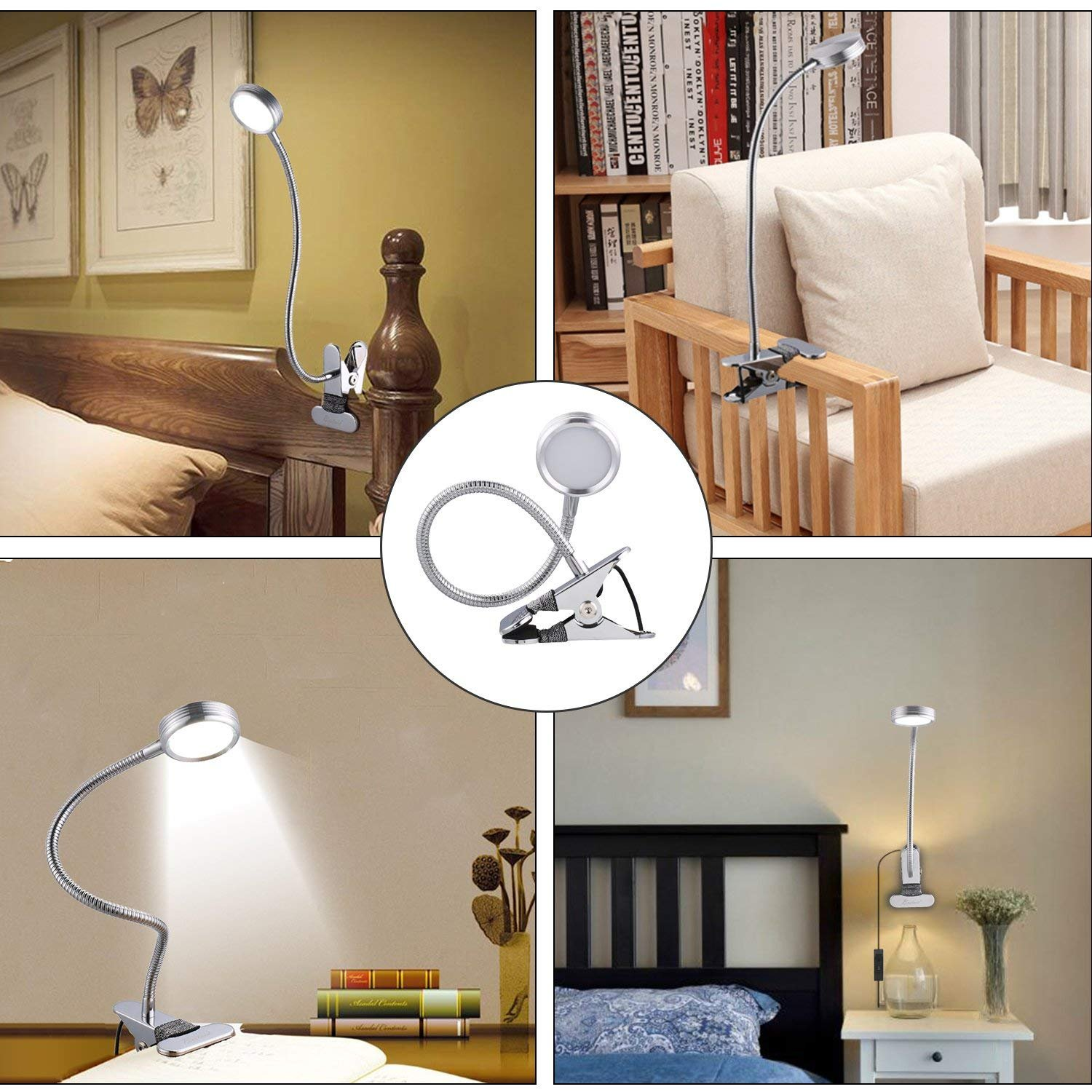 123 11.1 Gesenie LED Clip Reading Light Bed Headboard,Study Book Lamp Desk,11 Levels Brightness,3 Color Temperature,360°Adjustable Eye-Care Gooseneck Bedside Clamp,Memory Function,Sleep Mode,5W USB Silver by 123 (Image #5)
