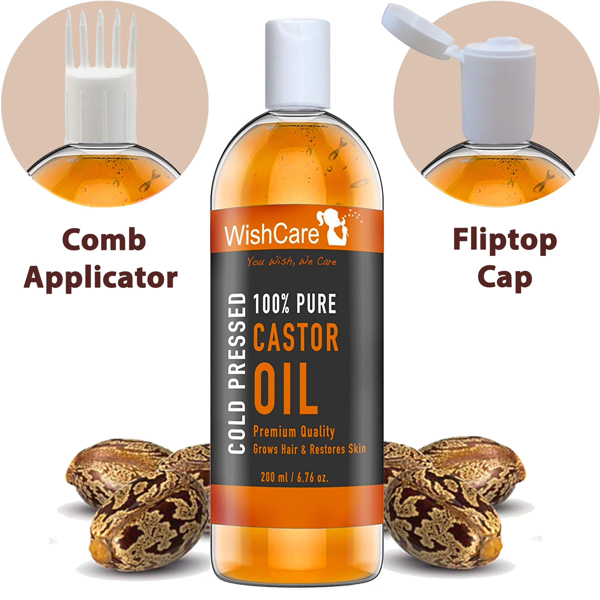Wishcare Premium Cold Pressed Castor Oil For Hair & Skin (200Ml) product image