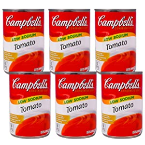 Campbell's Tomato Soup Less Sodium, Condensed, 10.75 oz Can, Pack of 6