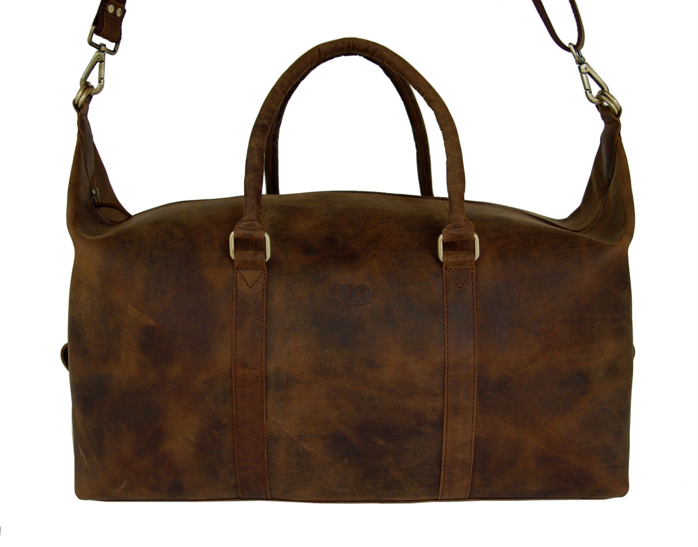 LeftOver Studio Expandable Weekend Overnight Travel Duffel Bag in Thick Oil Pull Hunter Water Buffalo Leather by Leftover Studio (Image #6)