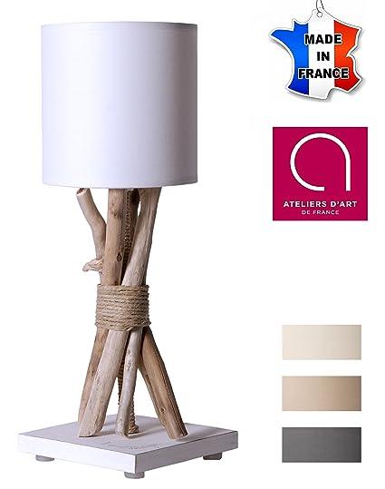 Lampe De Chevet De Table En Bois Flotte Blanc Fabrique A La Main