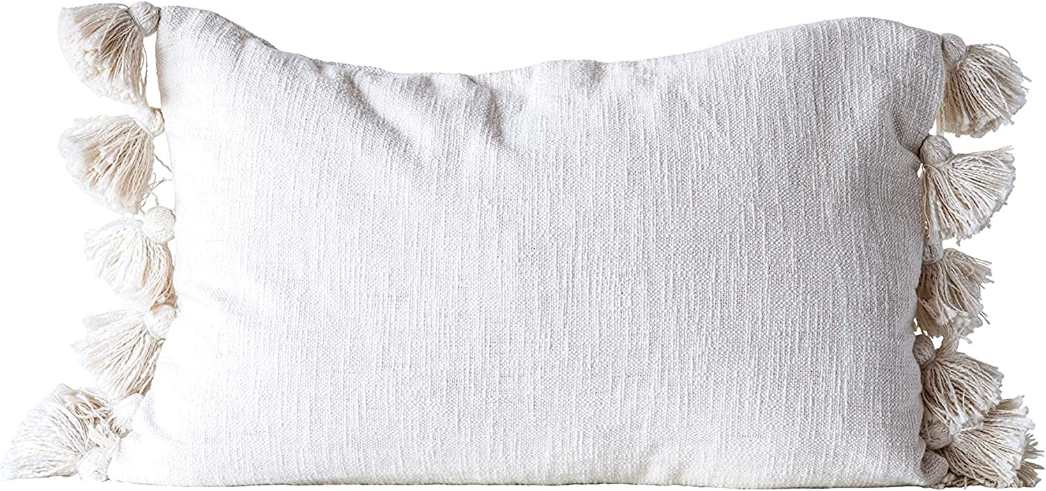 Creative Co Op Cotton Woven Slub With Plush Tassels Pillow Cream Home Kitchen