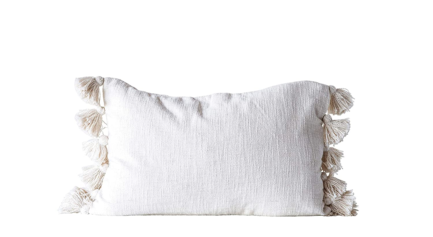 Cream White cotton woven pillow with tassels for French farmhouse and European country decorating and interiors.