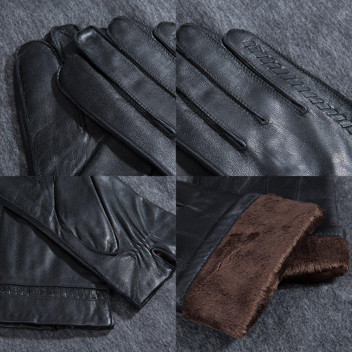 MATSU Men Winter Warm Leather Weave Black Gloves M1057