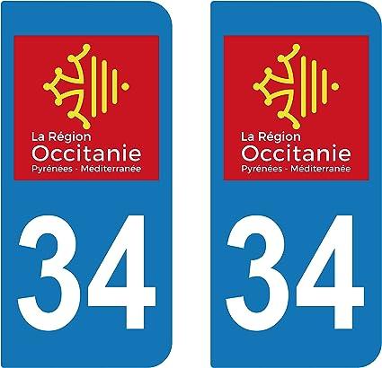 2 adhesivos adhesivo para matrícula Departement 34 Herault Region ...