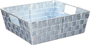 Home Basics Metallic Non-Woven Strap Bin Basket Tote (Large, Blue)
