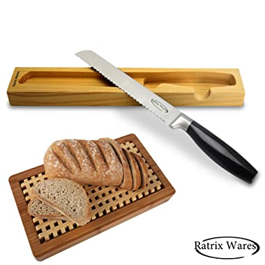 #1 Best Serrated Bread Knife - High Quality Stainless Steel - For Home & Professional Use - 8 Inch Wavy Sharp Blade - Classic Design - FREE Handmade Wooden Storage Case - Lightweight & Easy to Use
