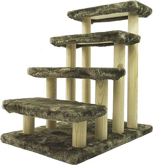 Escaleras de madera para mascotas Haibeir, escaleras de 4 pasos, para mascotas, gato, perro, con alfombra desmontable para cama alta y sofá: Amazon.es: Productos para mascotas