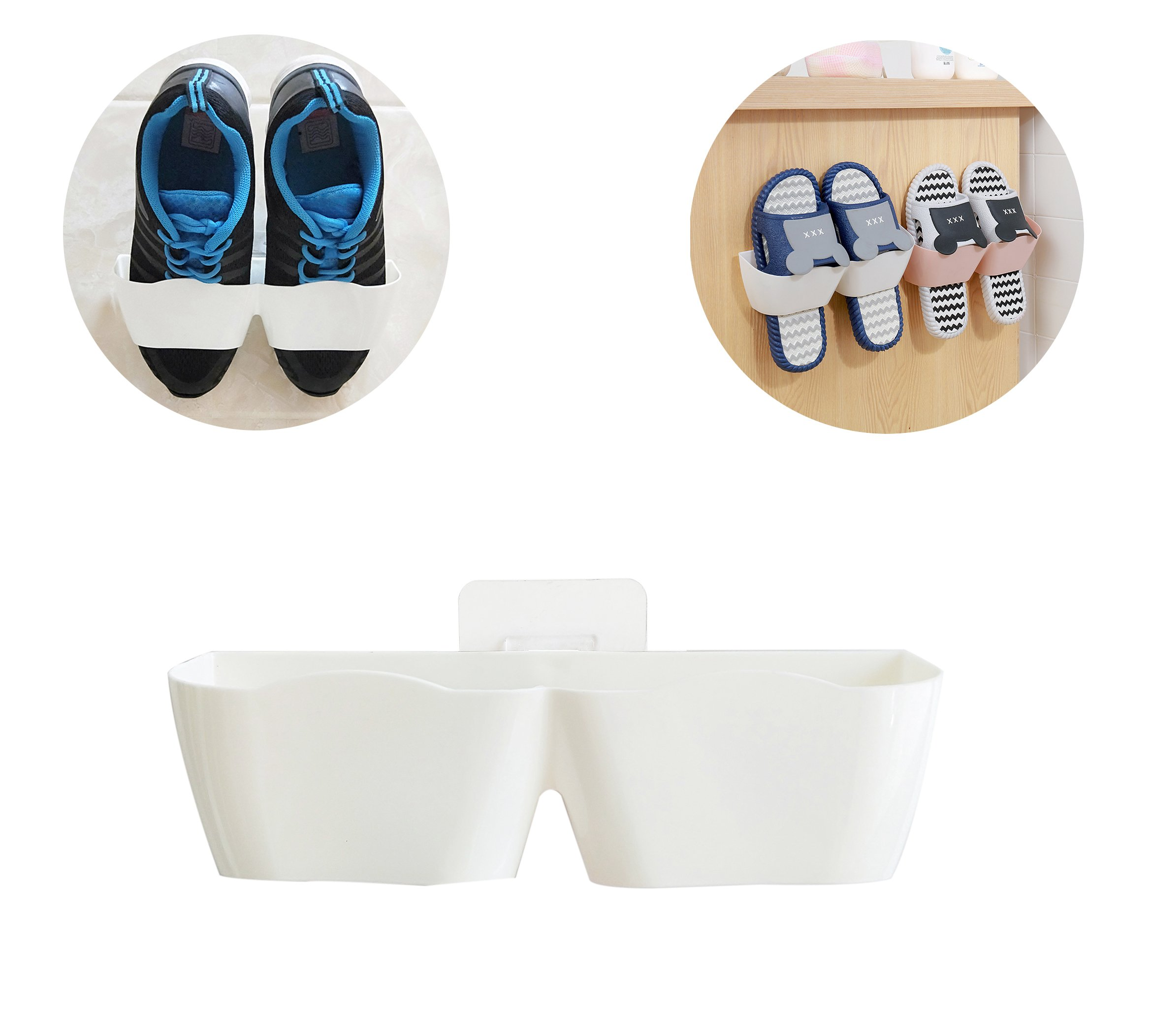 MEOLY Home Shoes Rack Strong Bearing Shoes Shelf Plastic Wall Mounted Shoes Rack with Non-trace stick for Entryway Door Hanging Shoes Organizer 4pcs Pack(White)
