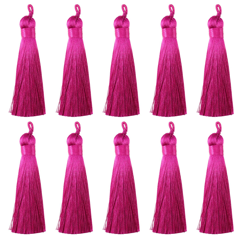 Forise 20Pcs 0.5 Wide Tassels Light Purple Fashion Handmade Silky Elegant Tassels with Hanging Loop for DIY Jewelry Making Accessories