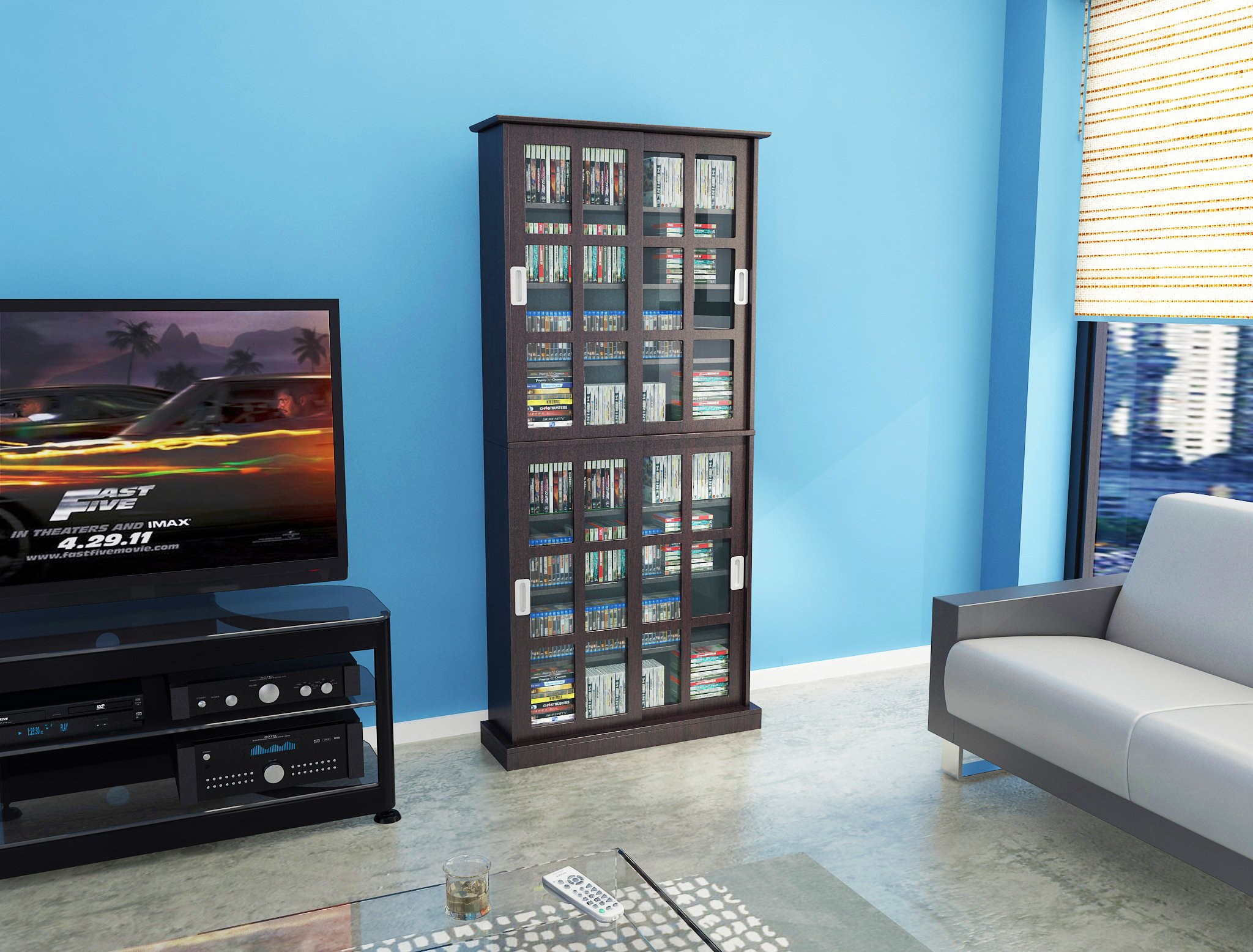Atlantic 94835757 Windowpane 720 Media Cabinet in Espresso