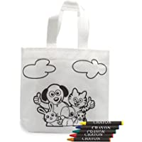 Fun Fan Line - Set of 20 Coloring Bags with colored crayons. Ideal for birthday gifts, communions, schools, kindergarten events and celebrations. Recess and lunch bags.