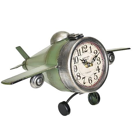89ae752e3c29  en.casa ® Reloj de pared decorativo diseño avión con pantalla analógica -
