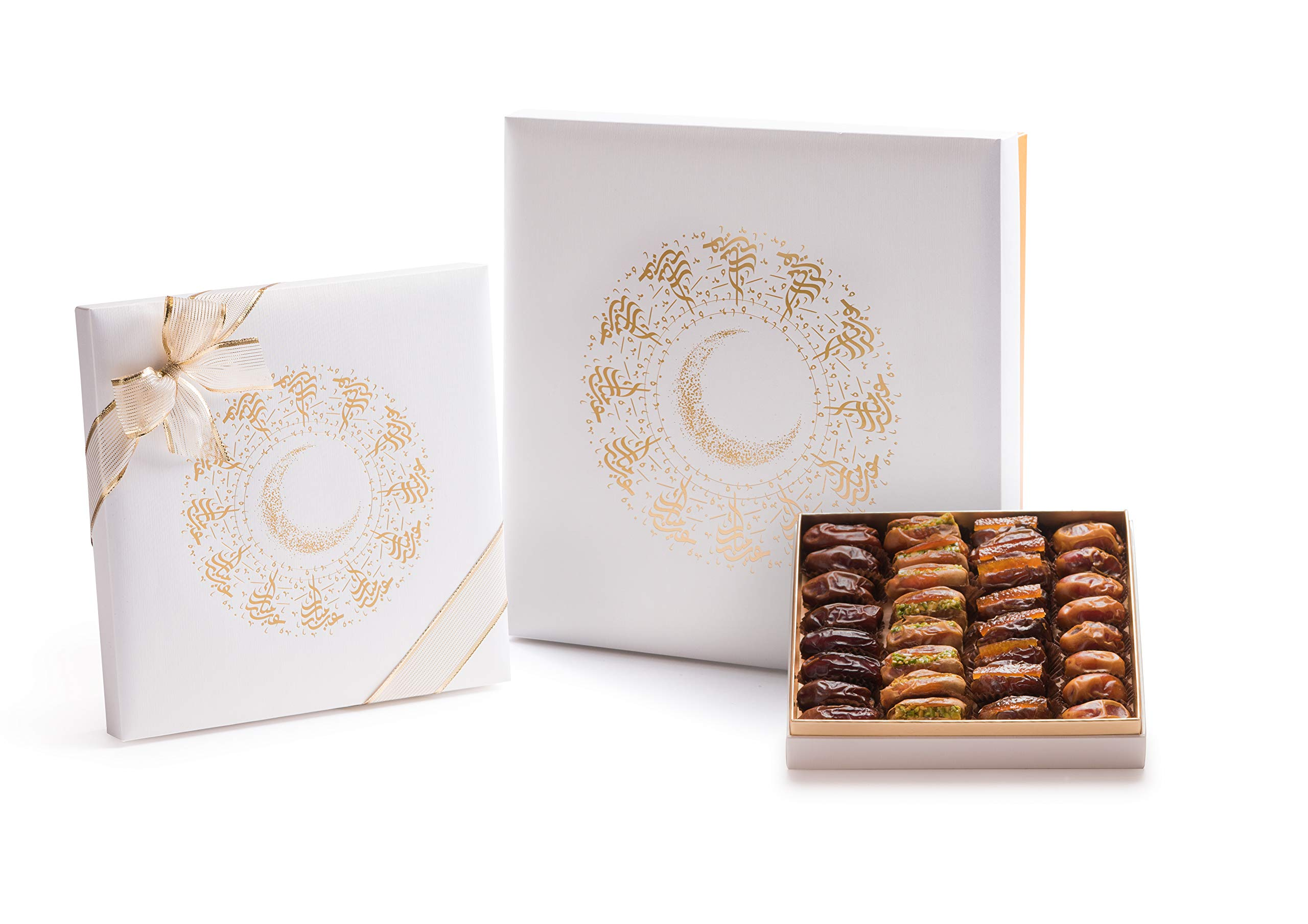 Eid Mubarak Radiant White and Gold Gift Box with Gourmet Filled Dates (38 Pieces)