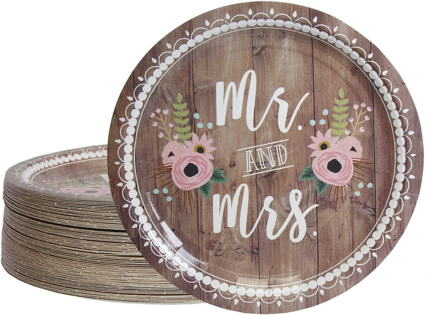 Disposable Plates - 80-Count Paper Plates, Wedding Party Supplies for Appetizer, Lunch, Dinner, and Dessert, Mr. and Mrs. Rustic Wedding Theme Design, 9 Inches in Diameter