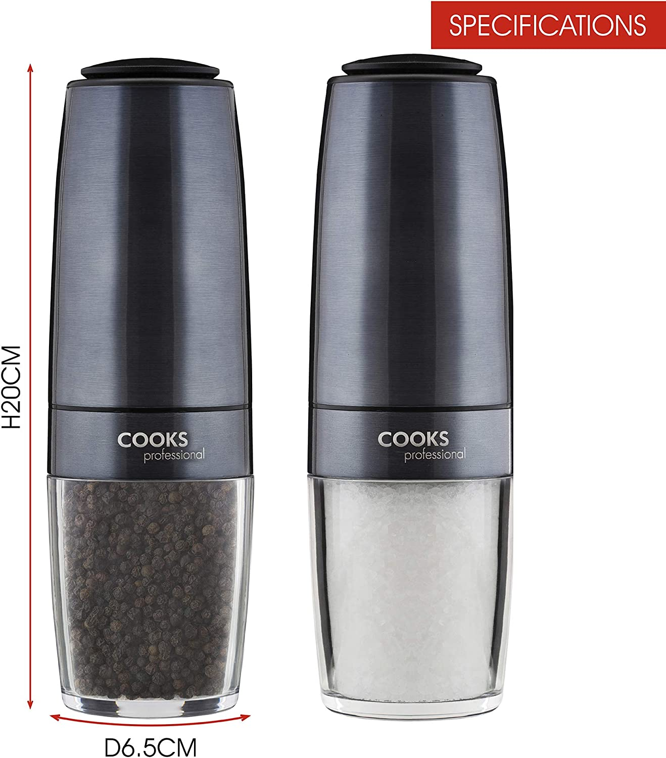NEUF Cooks Professional Electric Salt//Pepper Mill Grinder 1pc Graphite