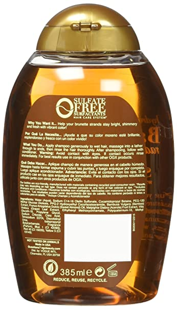 75cc40390 Amazon.com : OGX Hydrate & Color Reviving + Bamboo Radiant Brunette Shampoo  13 Ounce : Beauty