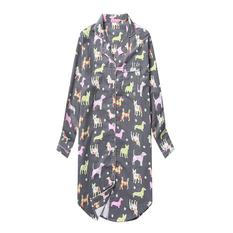 SANMADROLA Women's Flannel Boyfriend Nightshirt Button Down Nightgown Mid-Long Style Sleepshirt