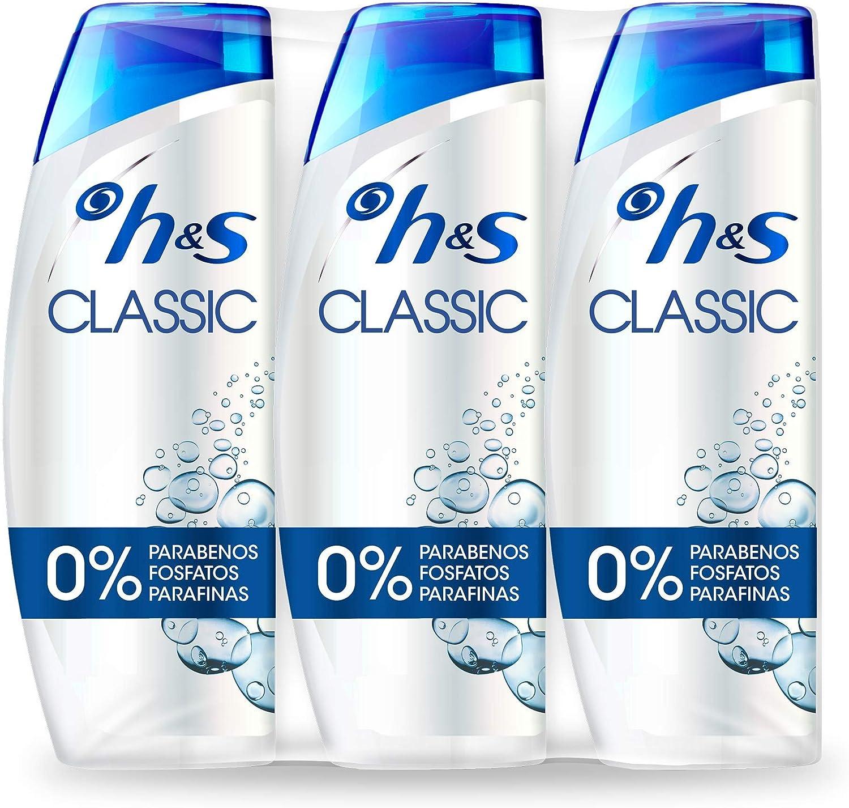 H&S Classic Anticaspa Champú para todo tipo de pelo, para hombre y mujer, producto para cabello - 3 x 540 ml