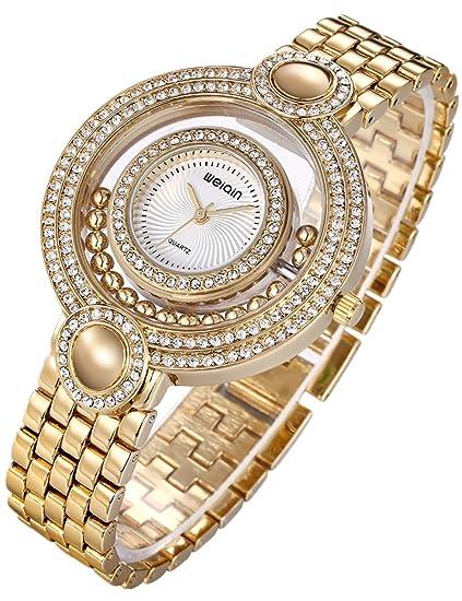 Reloj Dorado Mujer Moda Baratos Pulsera De Oro-Tono Del CíRculo Diamantes: Amazon.es: Relojes