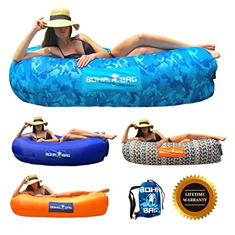 Inflatable Lounger Boha Bag Air Sofa Lounge Hammock And Pool Float, Perfect  For Hiking Camping