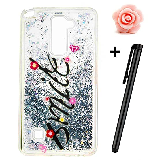 size 40 f0b32 dabb3 LG Stylo 2 Case,LS775 Liquid case,TOYYM 3D Creative Glitter Liquid Bling  Transparent Sparkle Floating Soft TPU Case Cover for LG Stylo 2 LS775-Smile