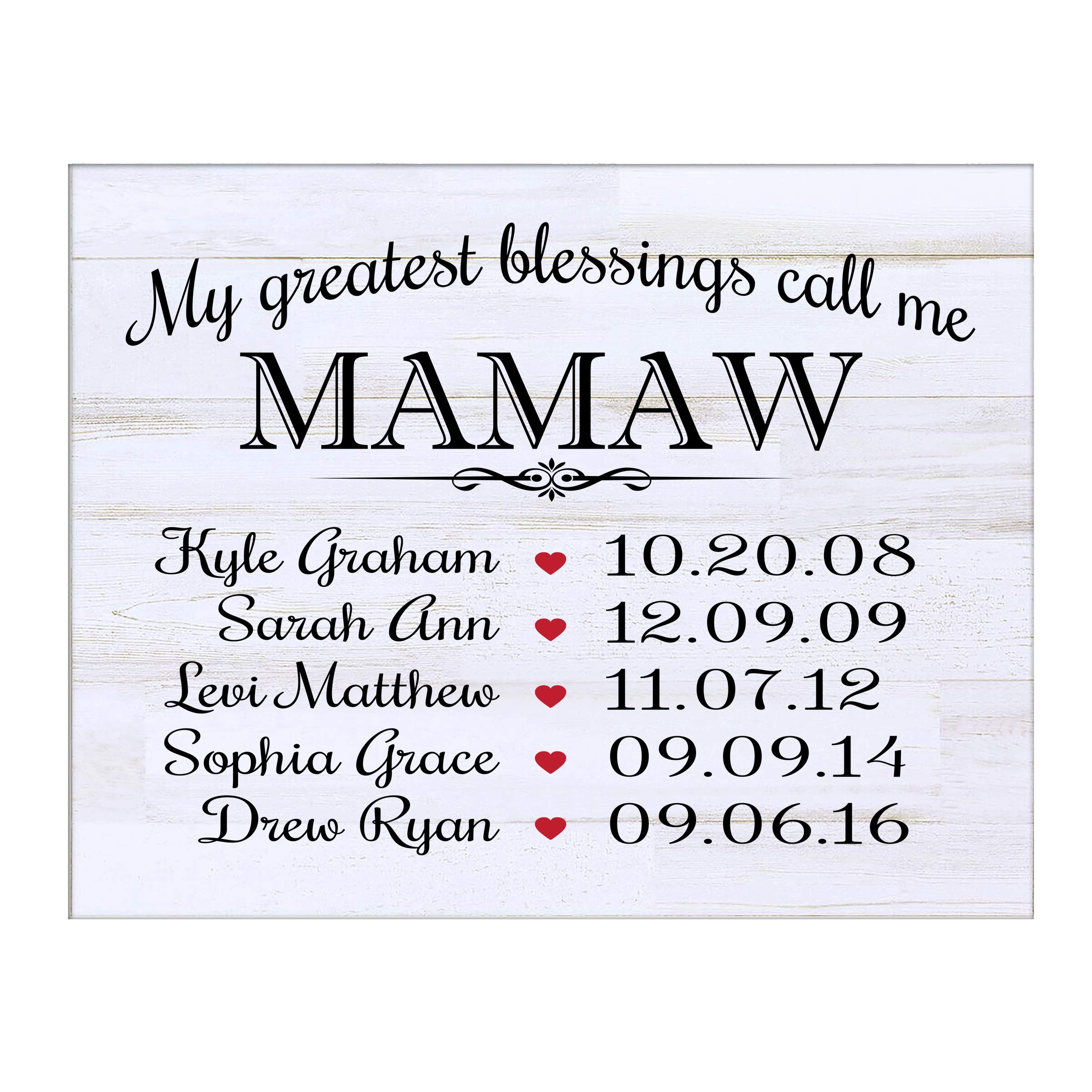LifeSong Milestones Personalized Gifts for Mamaw Wall Plaque Sign with Children's Names Birth Dates to Remember My Greatest Blessings Call me Mamaw (White Distressed)