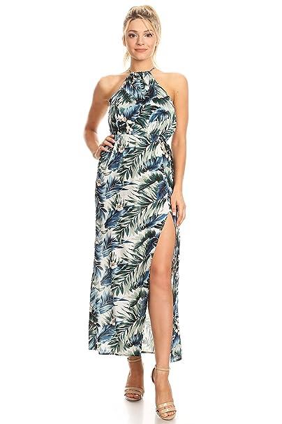 18bda36f2 Amazon.com: She's Cool Long Palm Tree Print Halter Maxi Dress: Clothing
