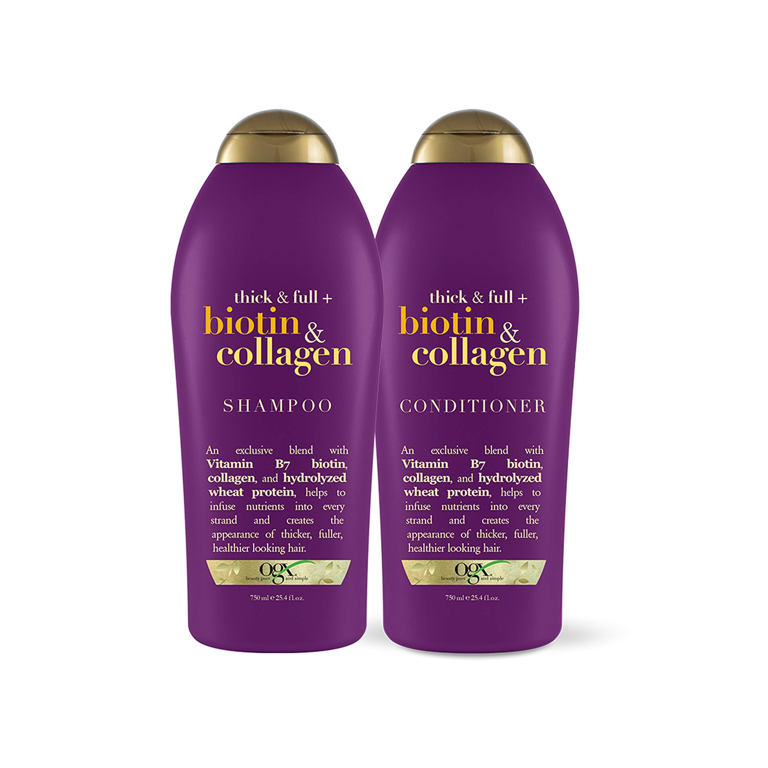 OGX Thick & Full + Biotin & Collagen Shampoo & Conditioner, 25.4 Ounce (Set of 2) by OGX