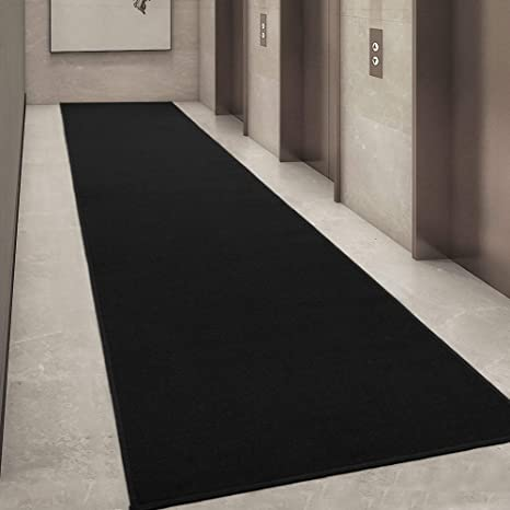Ottomanson Ottohome Collection Solid Design Hallway Wedding Aisle Runner Rug Non Slip Rubber Backing Area Rug 1 10 X 12 0 Black