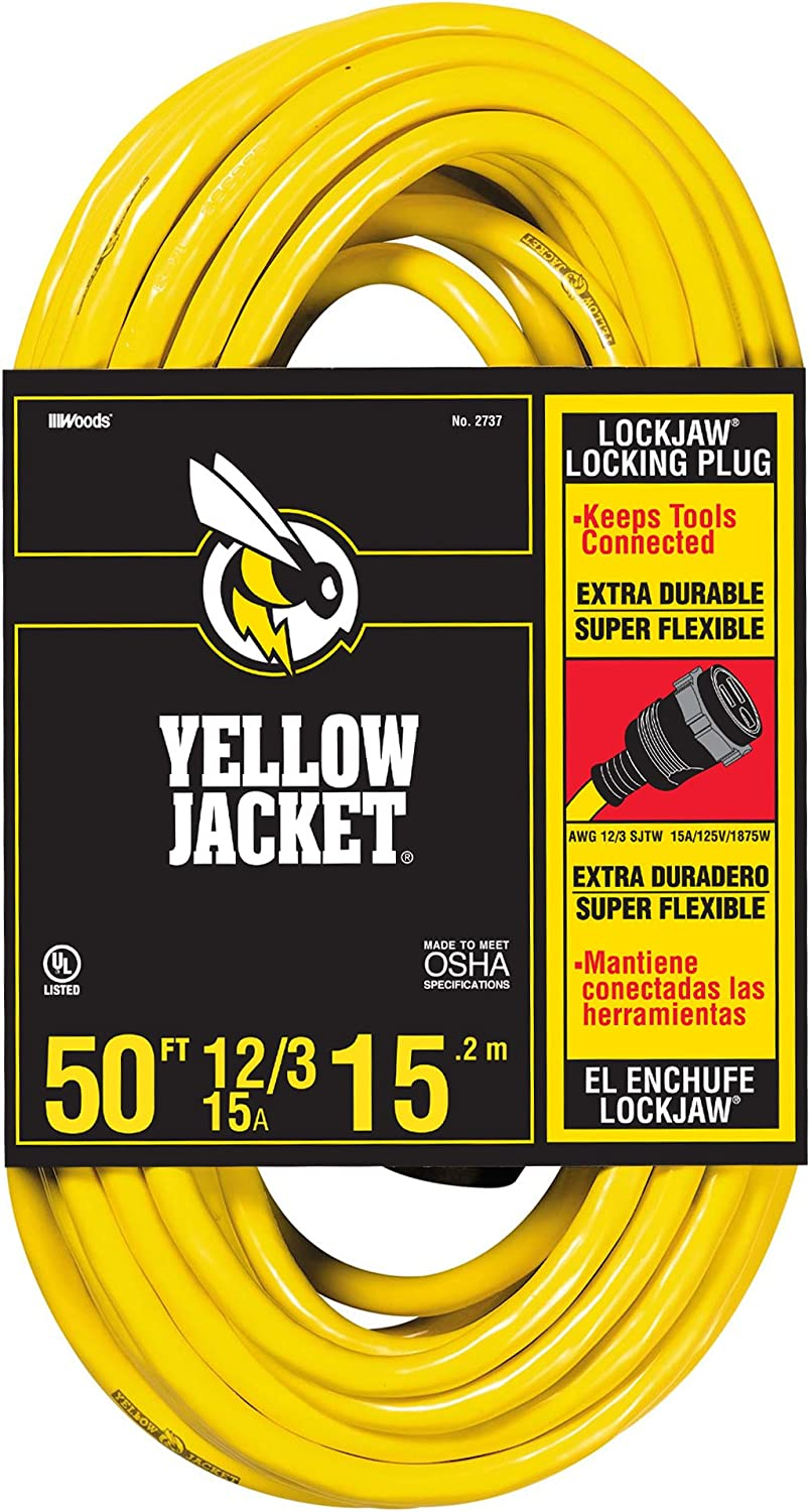 Yellow Jacket 2737 SJTW Locking Extension Cord, 12/3, 50 Ft, Feet