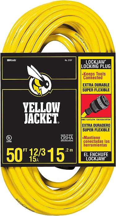Yellow Jacket 2737 SJTW Locking Extension Cord, 12/3, 50 Ft, Feet