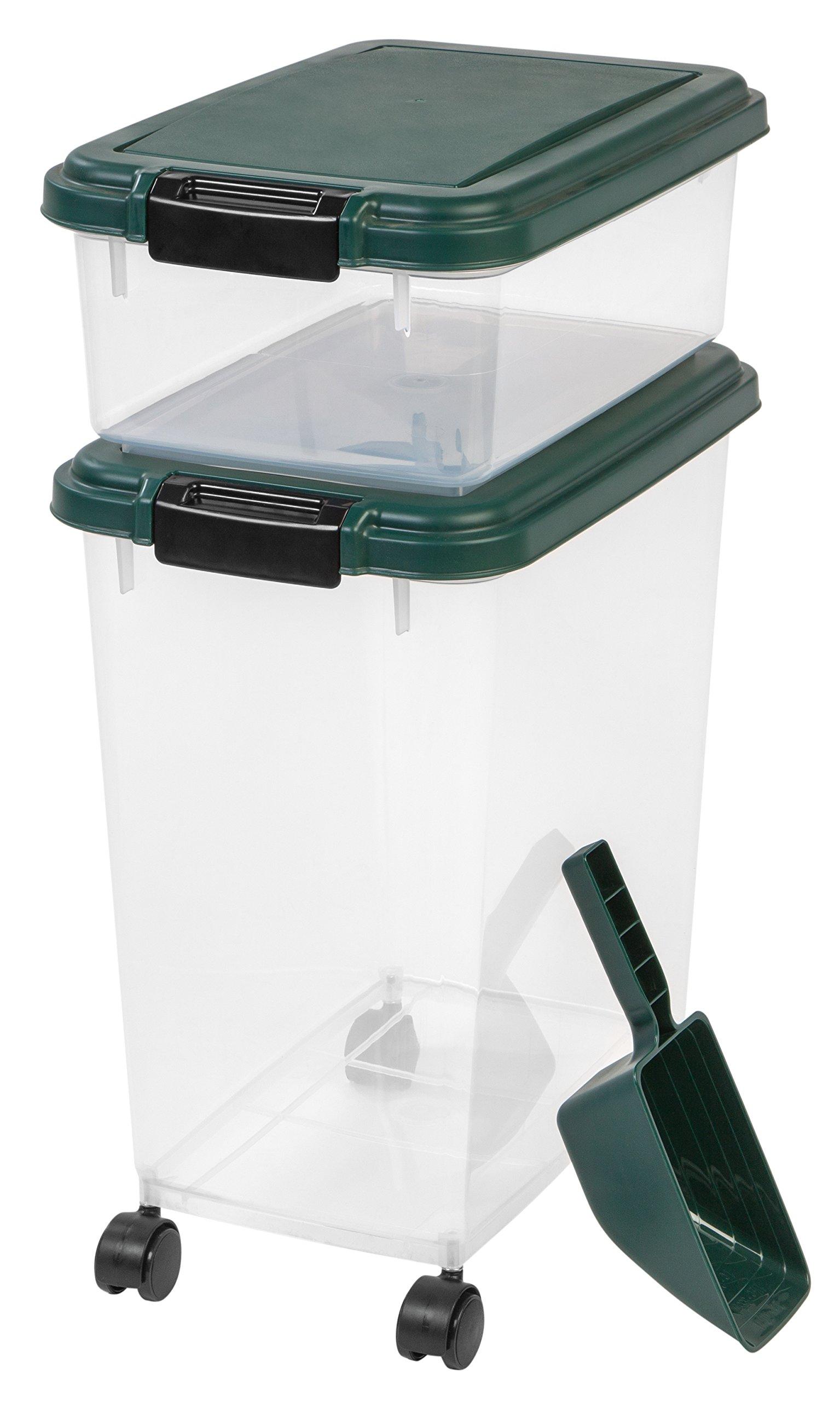 IRIS USA, Inc. 3Piece Remington Airtight Pet Food Storage Container Combo, Green by IRIS USA, Inc.