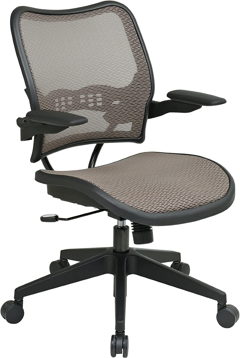 SPACE Seating Deluxe AirGrid Seat and Back, 2-to-1 Synchro Tilt Control and Cantilever Arms Managers Chair, Latte