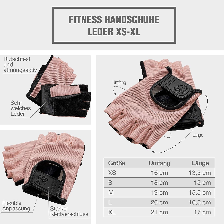 2er-Set Gr/ö/ßenvarianten XS-XL GORILLA SPORTS/® Fitness-Handschuhe Leder mit Klettverschluss