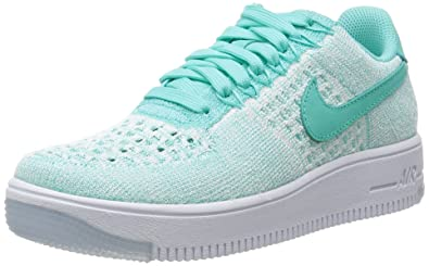 Nike Womens W Air Force 1 AF1 Flyknit Low Hyper Turquoise/White Fabric Size  8