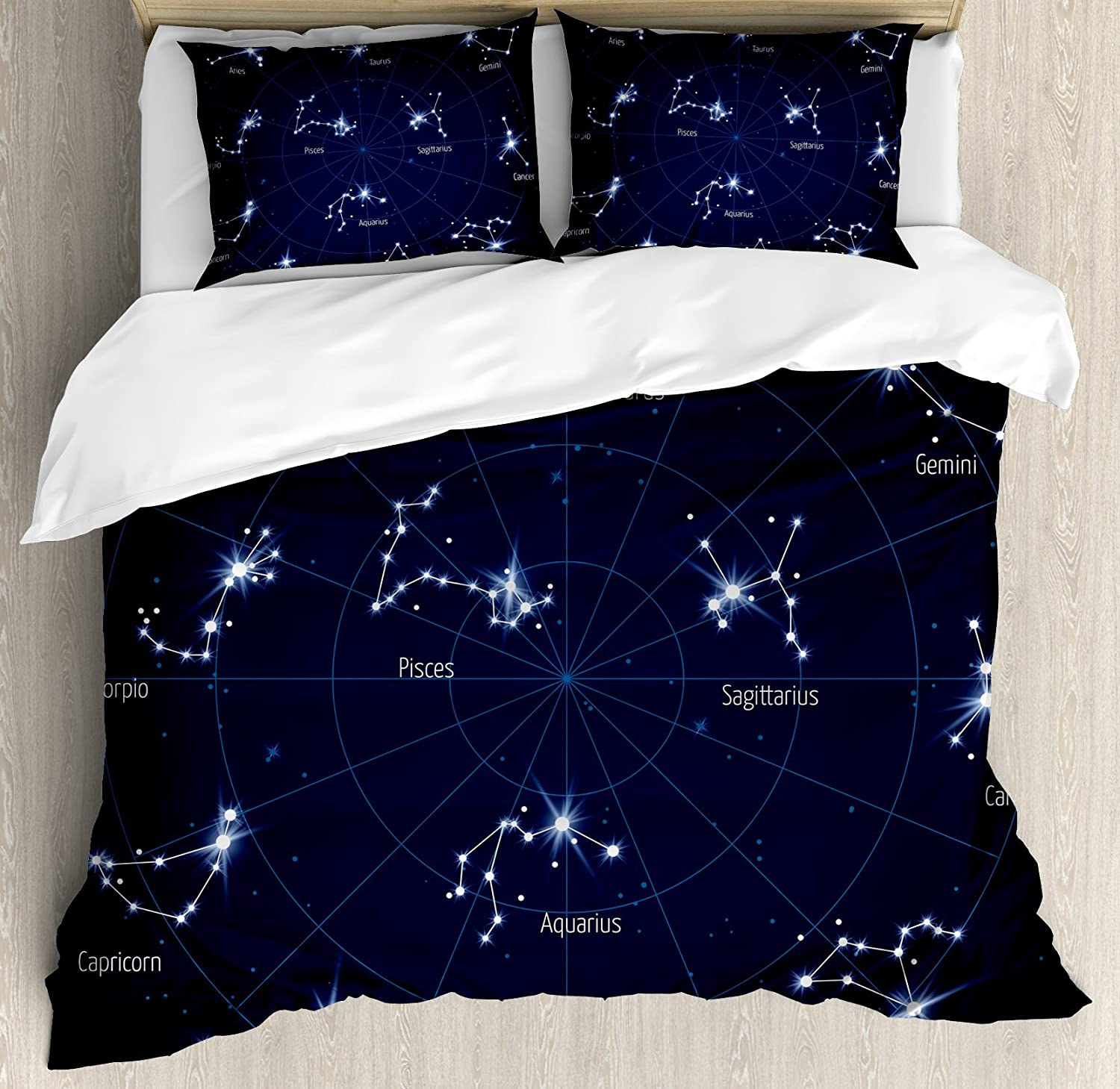 Sky Star Map.Amazon Com Ambesonne Constellation Duvet Cover Set Sky Star Map