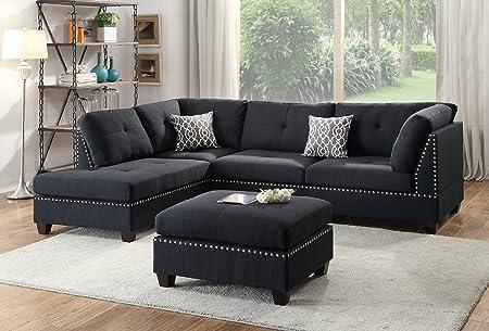Infini Modern Contemporary Polyfiber Fabric Sectional Sofa and Ottoman Set, Black